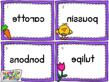 Pâques:  Easter Themed Vocabulary Center - Mots miroirs