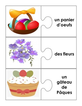 Pâques: French Easter Puzzle and Association Games with Word Wall