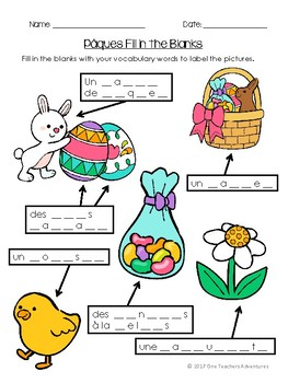 Pâques - French Easter-Themed Vocabulary Activities and Quiz (Grade 4-7)