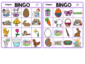 Pâques (Paques) Easter Themed Bingo Game in French