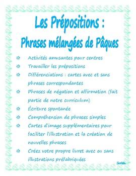 Pâques -prépostions -écriture  -centre; Easter French -writing -comprehension
