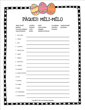 Pâques religious theme scrambled words - French scrambled words for Easter