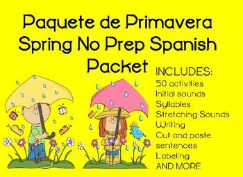 Paquete de Primavera Spring No Prep Spanish Packet