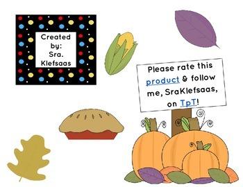 Paquete de Sumas de Da Gracias/Give Thanks Math Pack