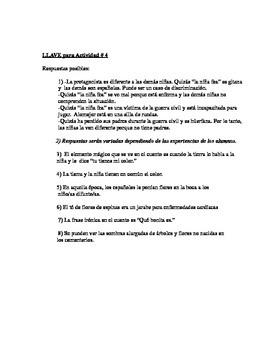 """Paquete de actividades para """"La niña fea"""" por Ana María Matute"""