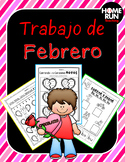 Febrero: February math, literacy and craft packet in Spanish