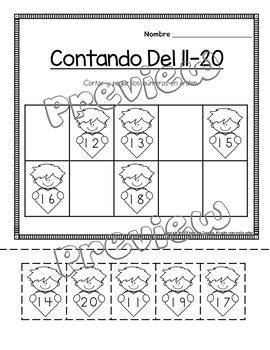 Febrero: February math, literacy and craft packet in Spanish