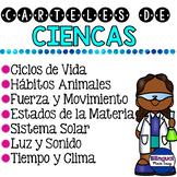 Paqueton de carteles de ciencias en ingles y espanol