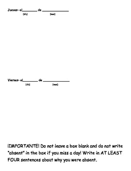 Para Comenzar (Blank warm-up sheets for Spanish classrooms)