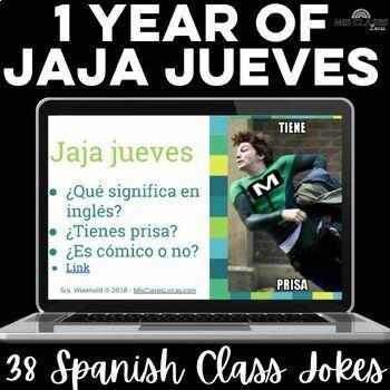 Para Empezar: 1 year of Jaja jueves - bell ringer or brain break for Spanish