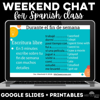 Para Empezar: Weekend Chat for Spanish class - mix up weekend talk
