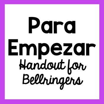 Para Empezar - Bellringer Handout for Students