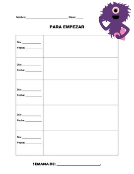 Para empezar-- Weekly warm-up sheets for Spanish classes