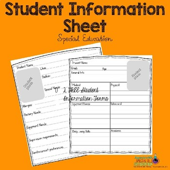 ParaProfessional Student Info Forms FREEBIE