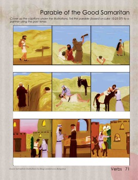 Parable of Good Samaritan with blank captions