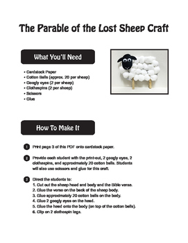 Parable of the Lost Sheep Craft, Elementary Bible Craft, Luke 15 Craft