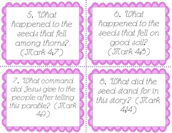 Parable of the Sower Bible Task Cards