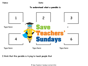 Parables Lesson Plan and Worksheets / Activity