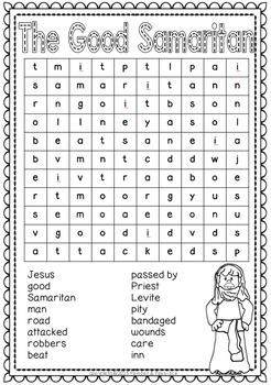 Parables ~ Word Search Puzzles: Zacchaeus, Lost Sheep, Good Samaritan and more