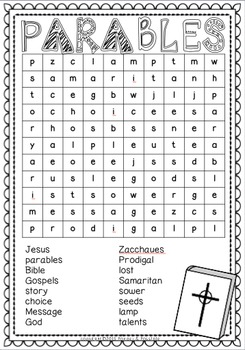 Parables ~ Word Search Puzzles: Zacchaeus, Lost Sheep, Good Samaritan and more
