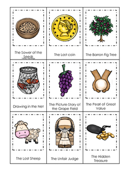 Parables in the Bible 3 Part Matching printable game. Preschool Bible Study Curr