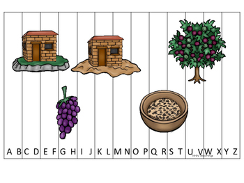Parables in the Bible A-Z Sequence Puzzle printable game. Preschool Bible Study
