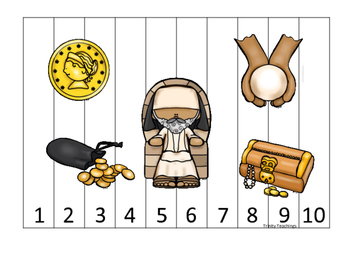 Parables in the Bible 1-10 Sequence Puzzle printable game. Preschool Bible