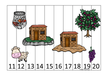 Parables in the Bible 11-20 Sequence Puzzle printable game. Preschool Bible