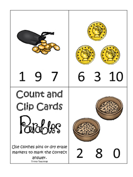 Parables in the Bible Count and Clip printable game. Presc