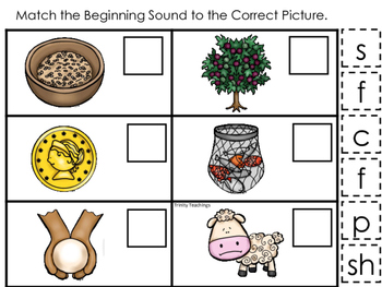 Parables in the Bible Match the Beginning Sound printable game. Preschool Bible