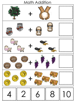 Parables in the Bible Math Addition printable game. Preschool Bible