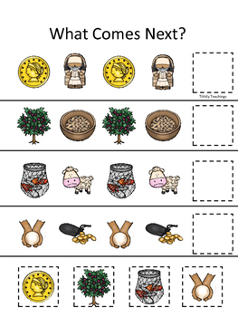 Parables in the Bible What Comes Next printable game. Preschool Bible