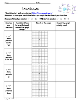Parabola Lesson Plan and Worksheet