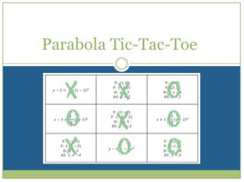 Parabola Tic Tac Toe