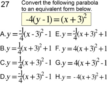 Parabola Unit for 11th-12th grades Intro + 19 Assignments for Power Point
