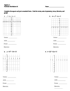 parabola worksheet 2 by darwin zimmerman teachers pay teachers. Black Bedroom Furniture Sets. Home Design Ideas