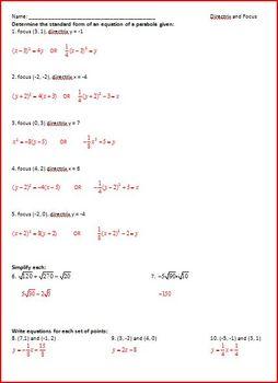 Parabolas (Directrix and Focus) (WS)