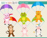 Parachute Animals Clip Art - color and outlines