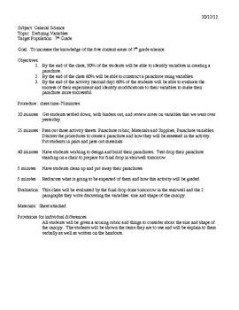 Scientific Method Parachute Drop Experiment (variables)