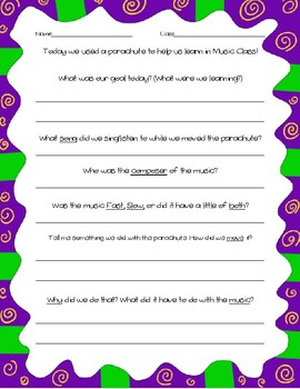 Parachute Play Review Worksheet