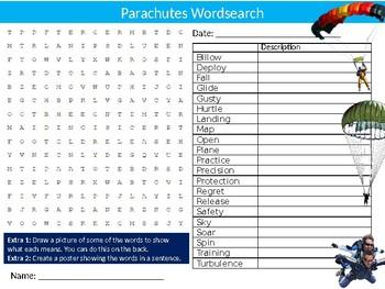 Parachutes Wordsearch Puzzle Sheet Keywords Homework High Risk Sports