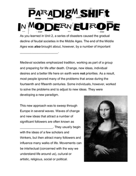 Paradigm Shift in Modern Europe - Handout & Questions