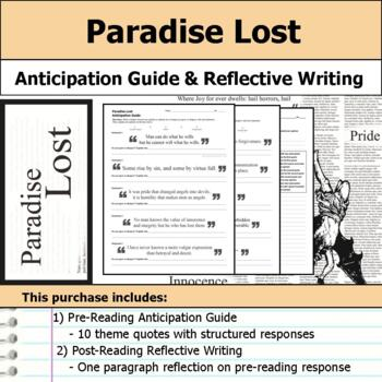 Paradise Lost - Anticipation Guide & Reflection Writing