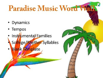 Paradise Music Word Wall