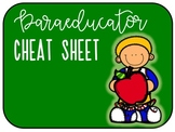 Paraeducator Cheat Sheet for Autism/Special Education Classroom