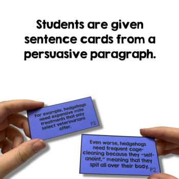 Paragraph Building Activity for Persuasive Writing