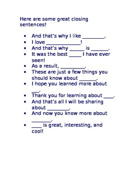 Paragraph Closing / Concluding Sentences for Journals and Classroom Posters
