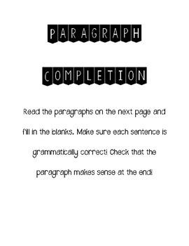 Paragraph Completion