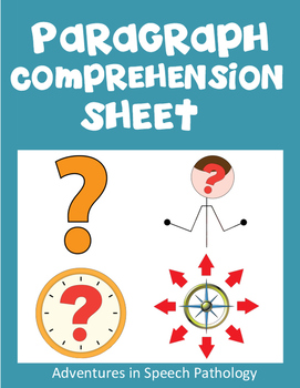 Paragraph Comprehension Workhheet