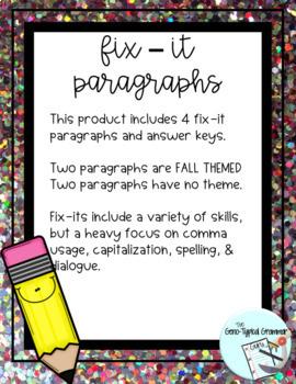 Paragraph Correction (Fix-It Paragraphs)
